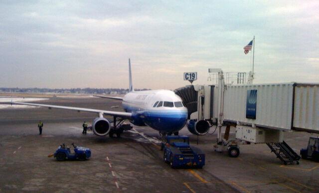 File:Boston Logan Gate C19 with Flag and Jet.jpg
