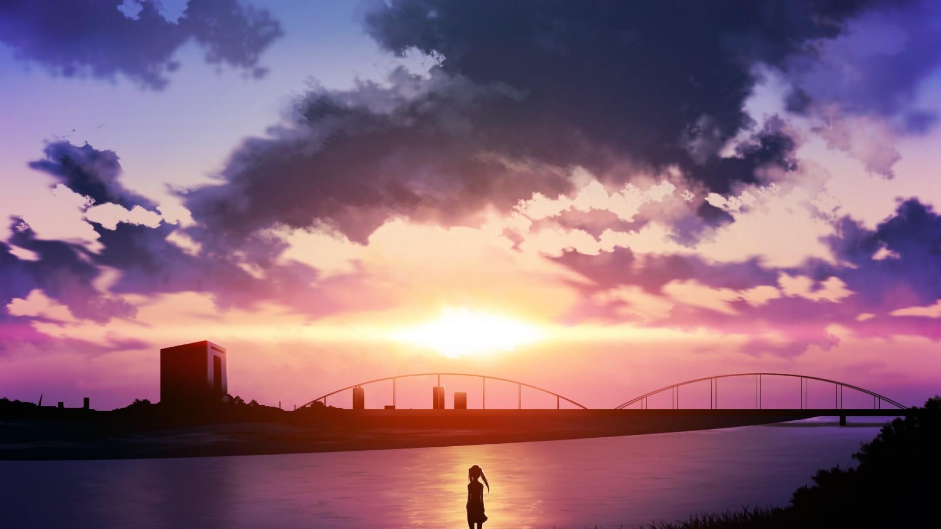 image sunset anime scenery wallpaper brothers. Black Bedroom Furniture Sets. Home Design Ideas