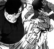 Yoshihisa kicks his son