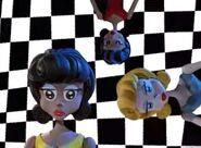 Cute doll checker background