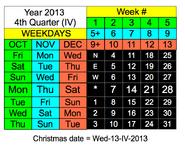 National Week Date Calendar 2013-12-24