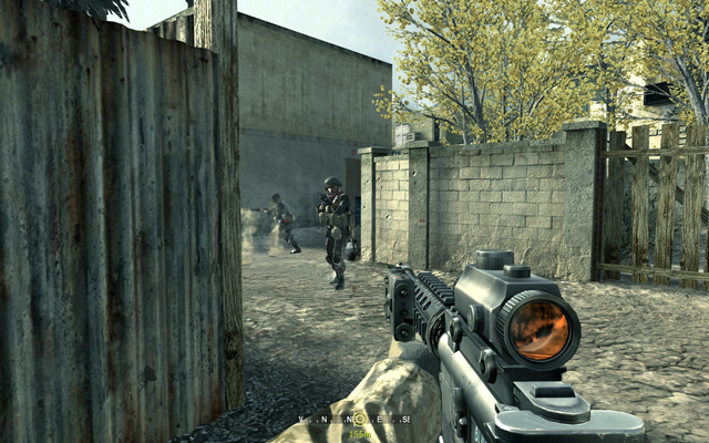 File:Enemy troops emerging from tin structure Charlie Don't Surf CoD4.png