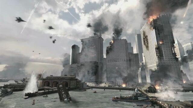 File:Battle for NY lower manhattan shot Hunter Killer MW3.jpg