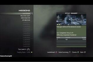 Mission Mode menu