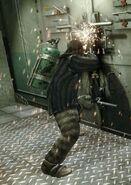 Reznov using the blowtorch on the main armory's door