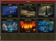 Fantasy Dungeon selection screen