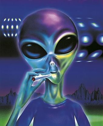 Alien smoking cannabis
