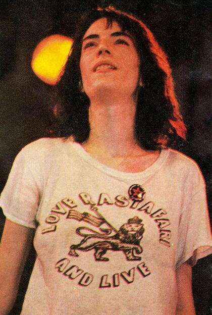 Patti Smith 1976 July 9 Central Park concert with Yippie cannabis flag pin