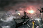 Old harbian battleship