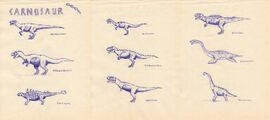 Carnosaur species by isla nublar crew