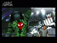 Predator(DMW) wearing Scarlet Spiders mask around his neck