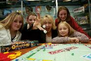Chloë Agnew and family with friends