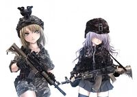 Konachan com - 104642 2girls gun hat skirt terabyte thighhighs weapon white