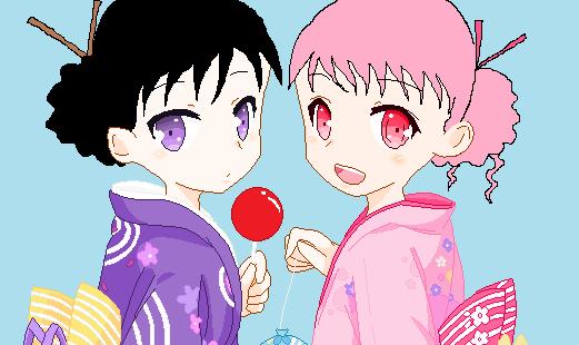 File:Yukata girls base by pandagrowlsama-d4qws4e.png