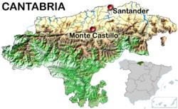 Situación del monte Castillo (Cantabria)