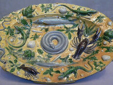 Palissy rusticware featuring casts of sea life French 1550