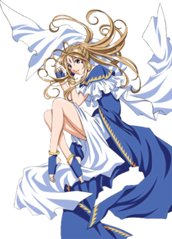 Oh My Goddess - Belldandy laying on the ground and happy