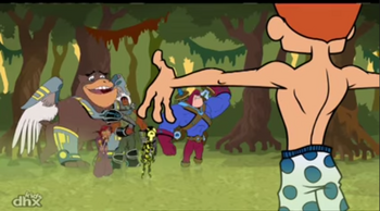 The World of Quest - Prince Nestor - proudly showing his first pair of boxer shorts to his friends