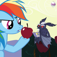 Rainbow Dash with the vampire fruit bat promotional S4E07