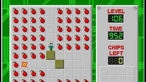 Chip's Challenge 1 level 106 solution - 907 seconds
