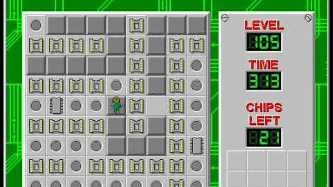 Chip's Challenge 1 level 105 solution - 255 seconds