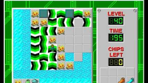 Chip's Challenge 1 level 40 solution - 195 seconds