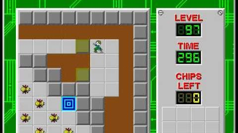 Chip's Challenge 1 level 97 solution - 290 seconds