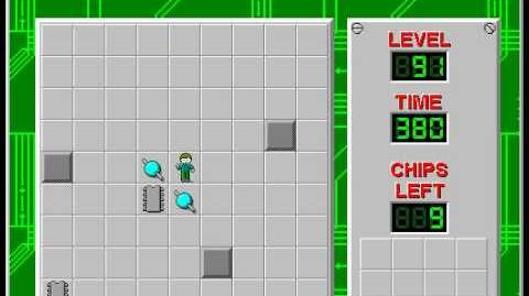 Chip's Challenge 1 level 91 solution - 367 seconds