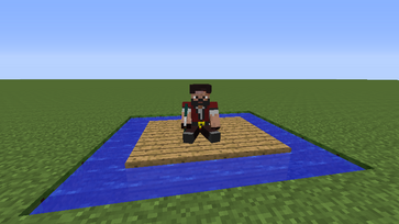The Pirate captain atop a plank raft