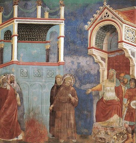 File:Giotto - Legend of St Francis - -11- - St Francis before the Sultan (Trial by Fire).jpg