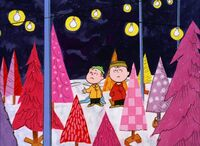 Charlie and Linus arrive at the Christmas tree lot