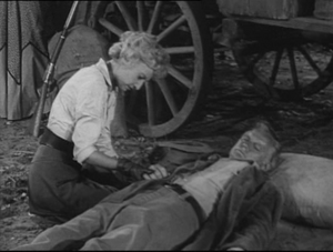 Russ Conway dead with Barbara Stanwick in Wagon Train-The Maud Frazer Story