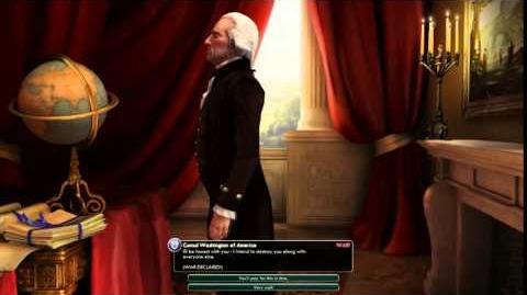 Civilization V Leader Washington of America Declares War