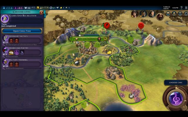 File:Civilization VI - Devs play as Brazil screenshot - Choose civic.jpg