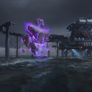 An ocean-bound floatstone quarry, as shown in a <i>Rising Tide</i> loadscreen