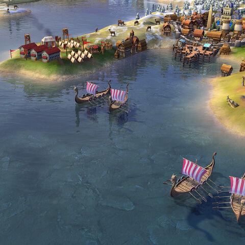 Viking Longships in game