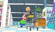 Clarence pushing Sumo in the cart