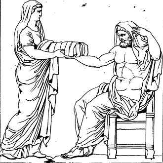 File:330px-Rhéa présentant une pierre emmaillotée à Cronos dessin du bas-relief d'un autel romain.jpg