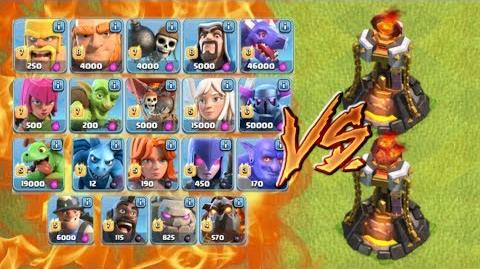 ALL TROOPS vs LEVEL 5 INFERNO TOWER - Clash of Clans New Update June 2017