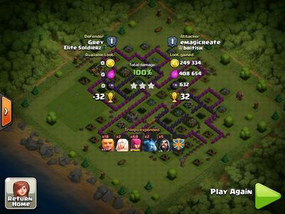 Highest raid screenshot of 721188 points by emagicreate (british clan)