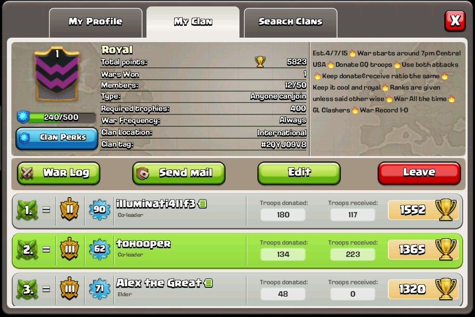 War/Farming/Donation Clan: Royal (#2QYJ09V8) | Clash of ...