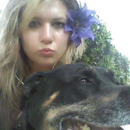 File:Lady Dren & her dog, Isis.jpg