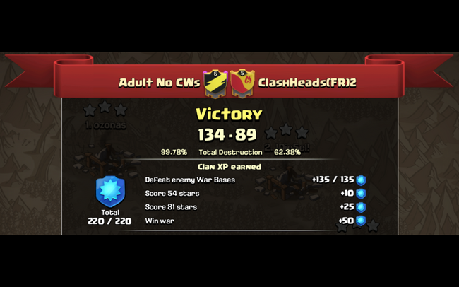 CLASH HEADS (FR)2 - WAR RESULTS PIC 2