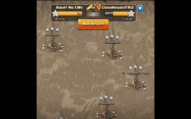 CLASH HEADS (FR)2 - WAR RESULTS PIC 1