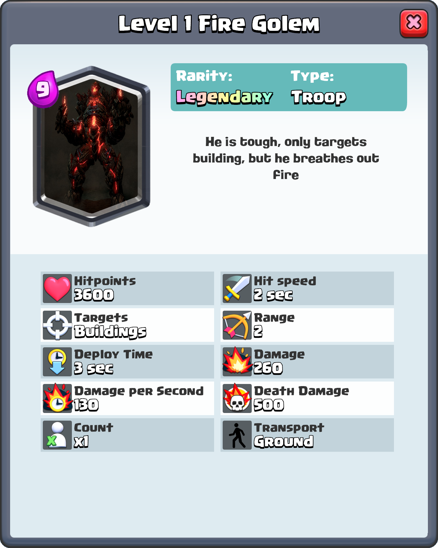 ... Level 1 Fire golem.png | Clash Royale Wiki | FANDOM powered by Wikia