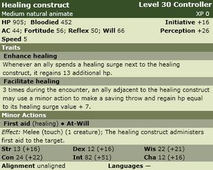 Healing construct stats