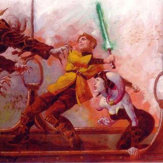 Anakin Solo protecting a civilian.