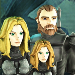 The Baroness Prosstang and her family: Alexzandria with Ferrigo and their daughter Aleksaana (16 BBY)