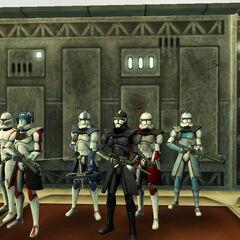 (Left to right) Trekk, Xeres Gorogdrive, Dragoneyes, Admiral Atom, Axe Evans, Kane Gortspiral.
