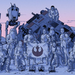 skirata and his unit on empire day celebrating the capture of hoth.